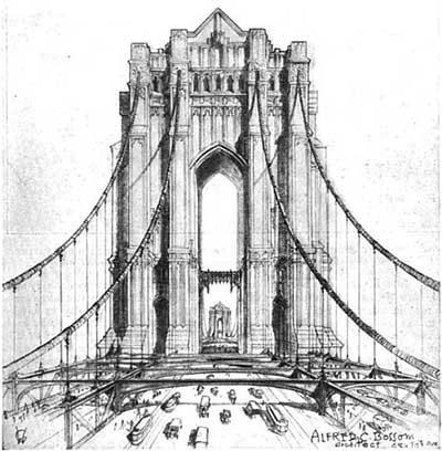The unbuilt 'Victory Bridge' crossing the Hudson River at Manhattan